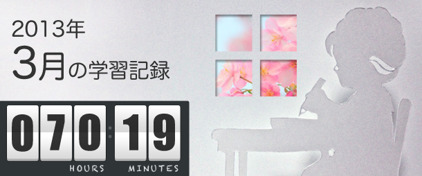 2013年3月の学習時間(70時間)