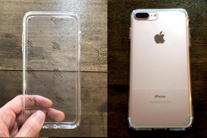 ケースはSpigenのiPhone 7 Plus ケース ウルトラハイブリッド